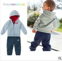 2014 spring autumn children clothing set Hooded jacket+pants long-sleeve set kids baby boy sport suit tracksuit 2pcs/set