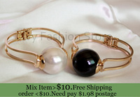 ZH0783 New Arrive High quality  Gold Plated Cuff Bangle& Bracelets With Big Pearl Beads Statement Bangle 2 colour