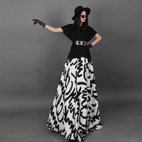 Free Shipping 2014 New Fashion Women Knitting Patchwork Big Swing Maxi Dress Lady Floor Length Temperament Fake Two Piece Dress