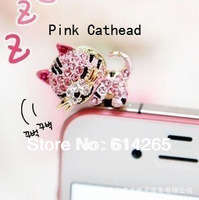 Free Shipping Cell Phone Accessories Phone Jewelry Diamond Cute Sleepy Cartoon Cat Dust Plug for Iphone4 Ipad 10PCS/lot 6520