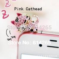 Free Shipping Cell Phone Accessories Phone Jewelry Diamond Cute Sleepy Cartoon Cat Dust Plug for Iphone4 Ipad 10PCS/lot 6520