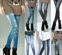 New Arrival Printing Faux Denim Jeans Ladies Skinny Leggings Pencil Pants Slim Elastic Stretchy Trousers 908