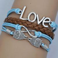 Factory Direct Infinity Owl Lover Bracelet Wrap Leather Wax Cords Bracelet Free Shipping 12pcs/lot