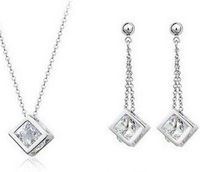 Fashion Austria Crystal   Pure copper inlay zircon jewelry jewelry sets small squares B13