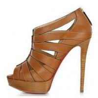 2014 summer womens fashion genuine leather shoes ladies high heels sandals sheepskin open toe red bottom women platform pumps 8