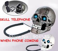Free shipping Skull Shape telephone, creative Novelty Telephone Skull Flashing Phone Skull Phone