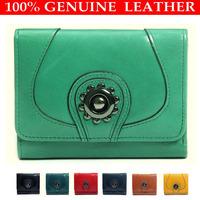 Women 100% Genuine Leather Purse Designer Brand Wallet, Short Tri Fold Wallets Fashion Cowhide Purse Wholesale and Retail