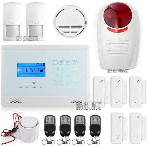 Versandkosten frei volle komplett drahtloses touch-tastatur gsm auto- wählen home-alarmanlage system+ wireless flash siren+smoke sensor