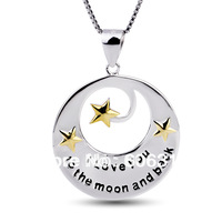GNX0288 Wholesale Free shipping 925 Sterling silver Pendant 32.8*24.2mm stars Fashion Box Chain Necklace Jewelry