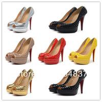 Free Shipping Solid Women Rivets Pumps Fashion Peep Toe High Heel Shoes