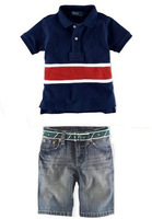 2014 Newyear lot denim Clothing Set Boys blue Short Sleeve Clothes +Jeans Shorts,Children Outerwear,Summer Sports Tracksuit Kids