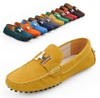 Suede Leather causal Slip On Men Driving Moccasin buckle Loafer Shoes