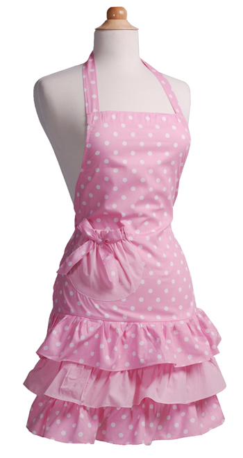 Free Shipping!! 100% Cotton Fabric Material Three Tiered Ruffles With a Big Bow on the Pocket Kitchen Apron Pink Dots Color(China (Mainland))