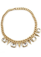 Free Shipping Fashion Women Trendy Gold Crystal Rivet Chain Necklace