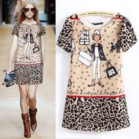 New 2015 Spring Summer Women's Cartoon Girl Leopard Printed Above-Knee Chiffon Dresses Short Sleeve Girl Casual Dress in Stock