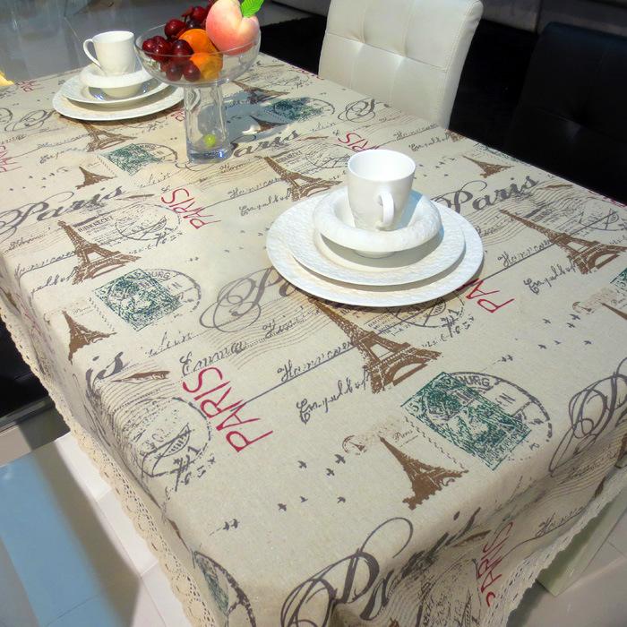 European style linen tablecloths Eiffel Tower fabric drapes tea table cloth 150*220cm(China (Mainland))