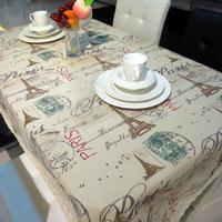 European style linen tablecloths Eiffel Tower fabric drapes  tea table cloth 150*220cm