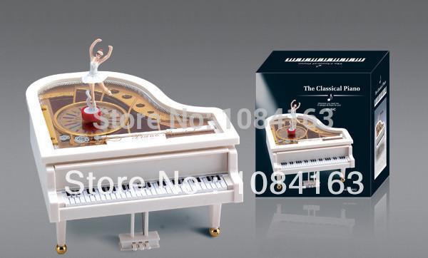 Creative Gift Girls Birthday Married Gift Christmas Piano Music Box Ballerina Whirligig Music Box Boutique Free Shipping(China (Mainland))