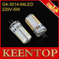 AC220V Max 6W Led Lighting G4 Led Solar Bulbs Smd3014 Lamps 64Leds Corn Light Spotlight Crystal Chandelier Lights10Pcs/Lot