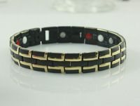 """New 2014 Fashion Jewelry Healing Magnetic 316L Stainless Steel Black&18K Gold Bracelet For Men/Women With FIR 8.5"""" SS002B"""