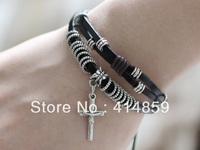 269 Women's leather bracelet cross bracelet Charm bracelet Leather jewelry Christian bracelet Religious jewelry For him & her