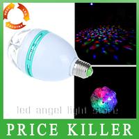 free shipping  RGB Full Color 3W E27 LED Bulb Effect DJ Disco Light Bulb party Stage Lighting