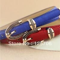 1pcs Hot Selling Fashion PU Leather Strap Female Thin Belt Women's Belt 12 Colors