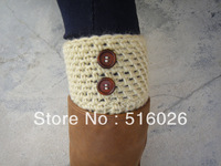 Crochet Boot Cuffs Womens Leg Warmers Boot Socks with wooden buttons