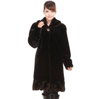 Winter women's faux thermal overcoat ultra long winter women's trophonema outerwear clothes
