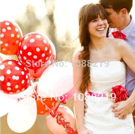 200pcs/Lot Polka Dot Balloons Birthday Party Decorations Kids Wedding Favors /Lembrancinhas Para Casamento(China (Mainland))