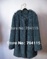 Blue Faux Fur Long Coat