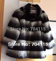 Stand Collar Three Quarter Sleeve Stripe Fur Coat