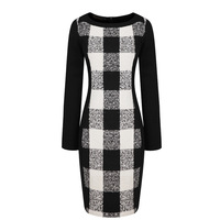 Women's New 2014 Spring Vintage Plus Size White Black Plaid Patchwork Slim Fit Hip Woolen Long-Sleeve Bodycon Women Formal Dress