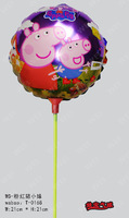 New arrivel 20pcs/lot 21*21cm Peppa pig  foil balloon with stick and cup for childs toys Aluminium helium balloon