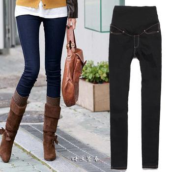 Мода регулируемая тощие джинсы беременным pregant женщина брюки брюки живота брюки ...
