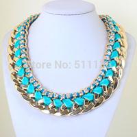 Big Fashion Choker Jewelry Rhinestones Ribbon Cross Chunky CCB Chain Necklace For Women Dress KK-SC406 Retail