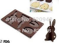 Free Shipping 6 pc/lot Cupcake Mold Easter Rabbit Chocolate Mould Dandmade Ice DIY Cake Fondant Decorating Rabbit Baking 120g