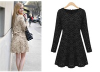 2014 Fashion Elegant Appliques Dress For Woman High Street Luxury Full Sleeve Cute Bow Slim Waist Knee Length Flower Lace Dress