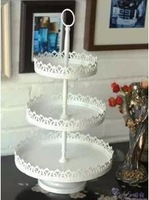 Embossed iron lace white iron pallet dessert plate fruit plate cake pan cake stand