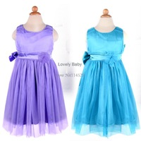 2014 summer girls dress Bow Dress Net Yarn Lovely Princess Dress Clothing With Bow color Red/Purple/Blue Vest Dress 20089 B18