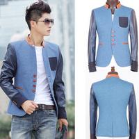 2014 new fashion Men's blazer stand collar chinese tunic suit slim FIT fashion patchwork blue blazer men pocket plus size 3XL