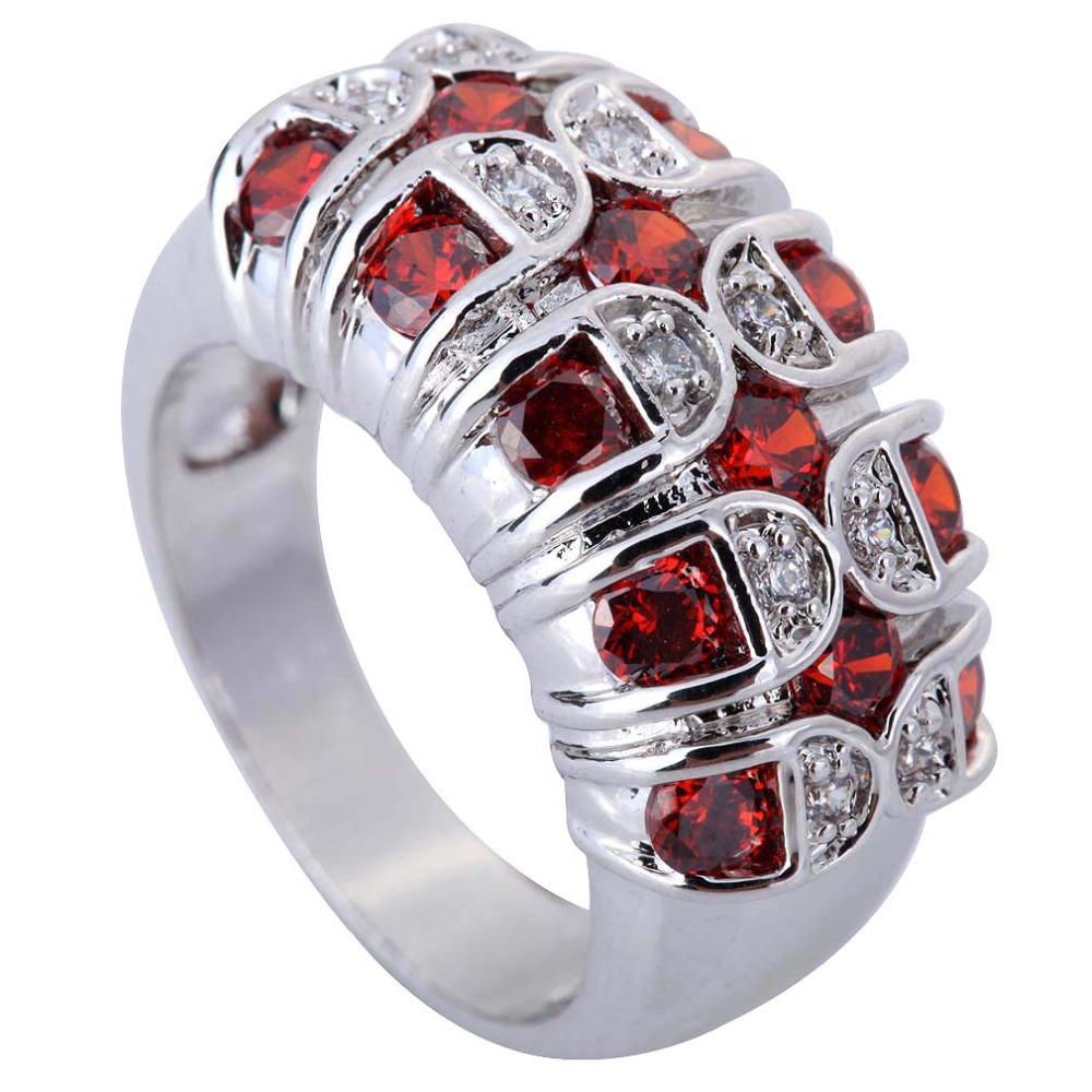 Wholesale Fashion Round Cut Garnet White Topaz Rhinestone Crystal 925 sterling silver jewelry CZ Ring Size