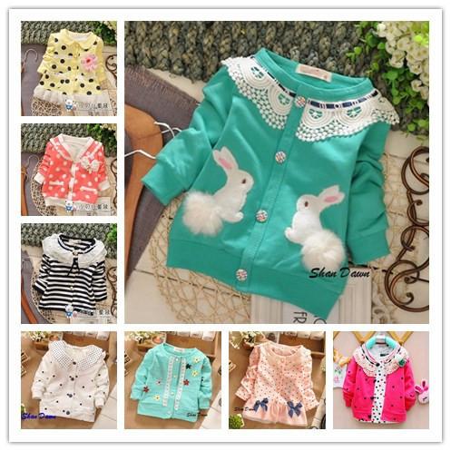 2014 Spring and Autumn Child girls Two plush bunny fashion cardigan Coats,Cotton cardigan jacket,different styles,V681(China (Mainland))