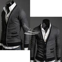 Holiday Sale Fashion Men's Knitwear Cardigan Slim Casual Mock Pockets Sweater Coat M L XL 3389