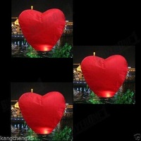2psc Red Heart Sky Lanterns Chinese Wishing Lantern Classic Toys Balloon Shape