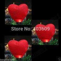 2psc Red Heart Sky Lanterns Chinese Wishing Lantern Classic Toys Balloon Shape