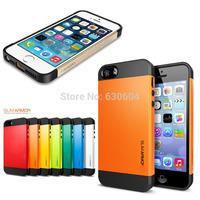 Champagne Gold PC+Silicone SGP SPIGEN Slim Armor Color Case Cover For iPhone 5 5S 20pcs/lot=10pcs Case +10pcs Screen Protector