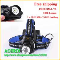 Free shipping 2000 Lumen Zoomable LED Headlamp CREE XM-L T6 LED Headlamp 3 Mode Bicycle bike HeadLight LED Flashlight