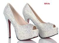Women Pumps 2014 New 11/14CM Diamond Fish Mouth Wedding Shoes Women High Heels Shoes Free Shipping