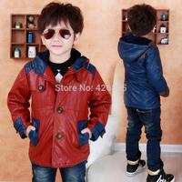 Spring children's clothing male winter child 2014 child outerwear big boy men's clothing leather clothing plus velvet overcoat